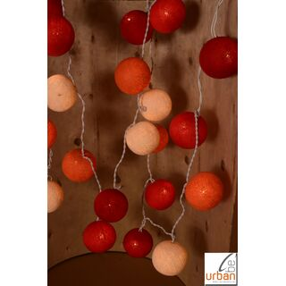 Lichterkette Bälle rot/orange/ creme-Mix 360 cm