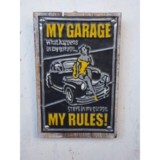 Holz-Metall-Schild My Garage