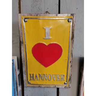 Holz-Metall-Schild Love Hannover